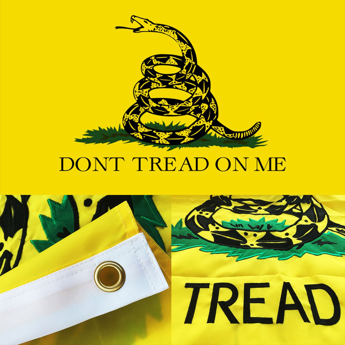 Winbee Embroidered Gadsden Don't Tread On Me Flag 3x5 Ft with Long Lasting Nylon, Double Sewn Stripes and Brass Grommets, UV Protected, Best 3 by 5 American Tea Party FLA