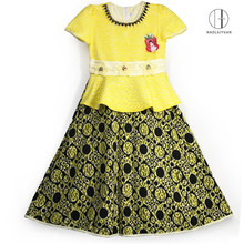 890-2/695-2-Yellow Yiwu Haolaiyuan Promotional top quality children wear flower girl dress patterns
