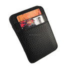 Unisex new mold shape lichee pattern leather small magic card coin trick wallet black