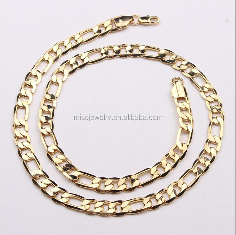 Simple 18K Gold Figaro Chain Necklace, Latest Design Saudi Gold Jewelry Necklace MJHP059