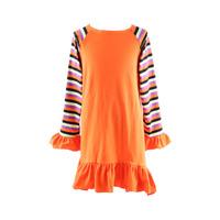 Top 100 models western style prom dresses long ruffle girl dress stripe sleeve girl dress