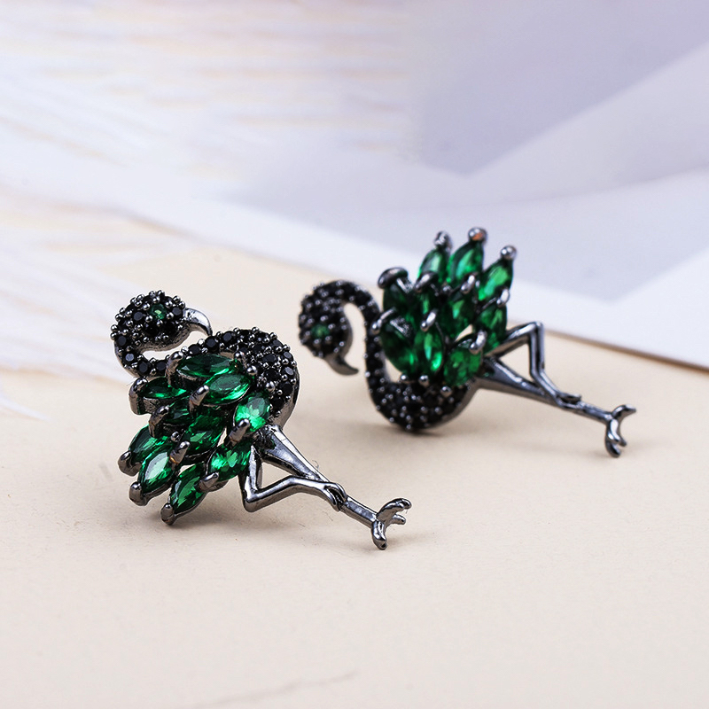2018 New Cubic Zirconia Jewelry Flamingo Funky Stud Earrings
