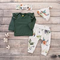 2019 green fly sleeve cotton tops flower printed pp pants baby clothes wholesale toddler's clothing set