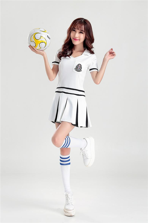 Sexy School Girls Football Cheerleaders Costumes White ...