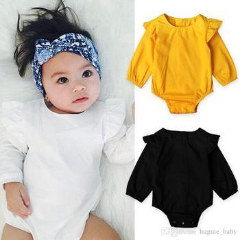 d9e8406354 Bebé niños niñas 3 colores mamelucos cuerpo traje recién nacido mameluco de  manga larga 100%