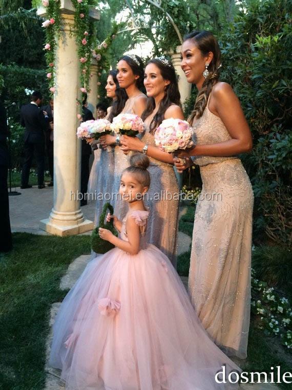 ea713f1543113 Rose Tulle Sans Manches Robes de Fille De Fleur En Dentelle Avec Noeud Robe  De Bal