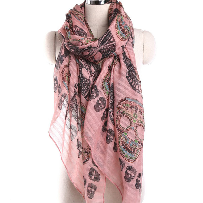 New Arrival Fashion Punk Colorful Skull Print Ladies Long Voile <strong>Scarf</strong>
