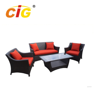 Popular Red Rattan Lounge Set 4pcs