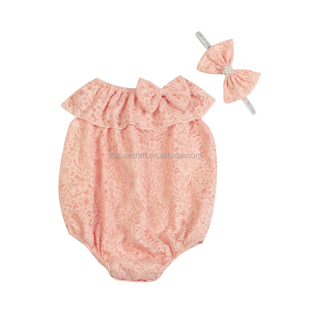 Wholesale Newborn Plain Lace Baby Romper for babies