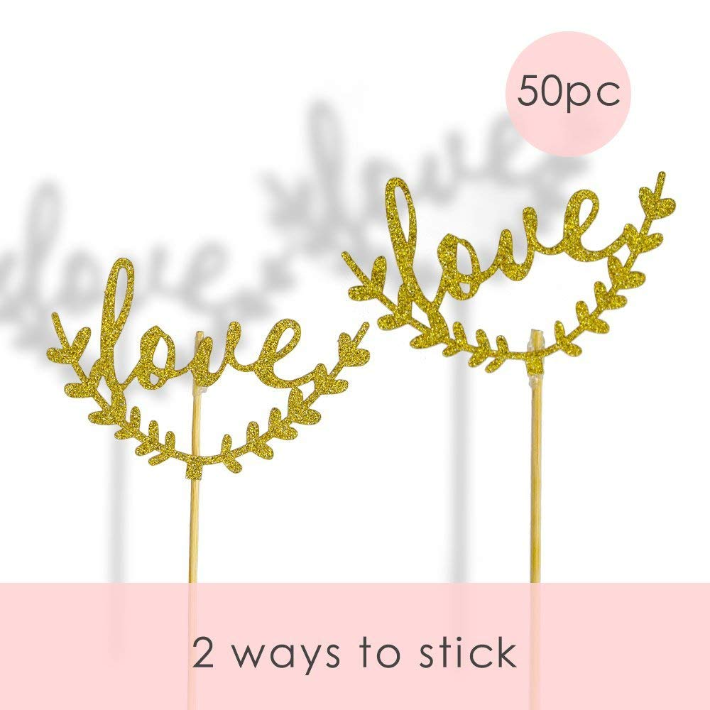 50pc Love and Peace Cake Toppers Copcake Toppers cupcake picks for Birthday Wedding Party Decoration, glitter gold