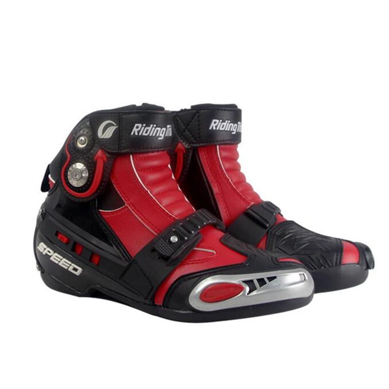 Мотоцикл сапогах столкновения популярные марки обувь микрофибра кожа гонки носить свободно регулировать герметичности красной