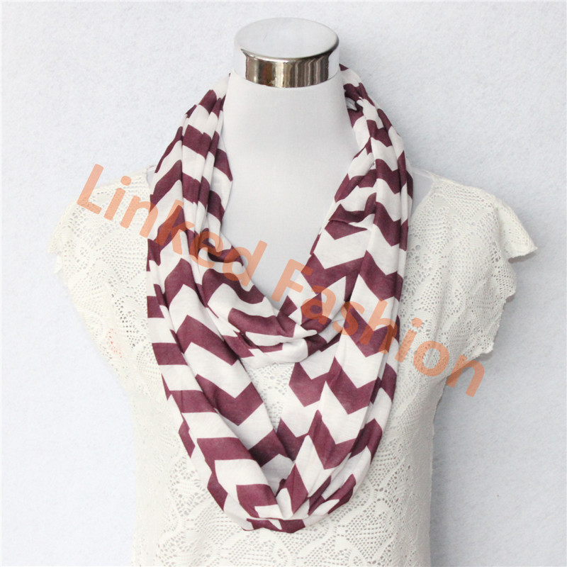 fashion women wine/white jersey zig zag chevron infinity scarf for autumn fall winter design cachecol,bufanda infinito,bufanda