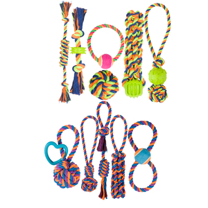 Manufactory Wholesale TPR Durable Knot Cotton Rope Chew Pet Dog Ball Toy Set Packs For Dogs With Ball