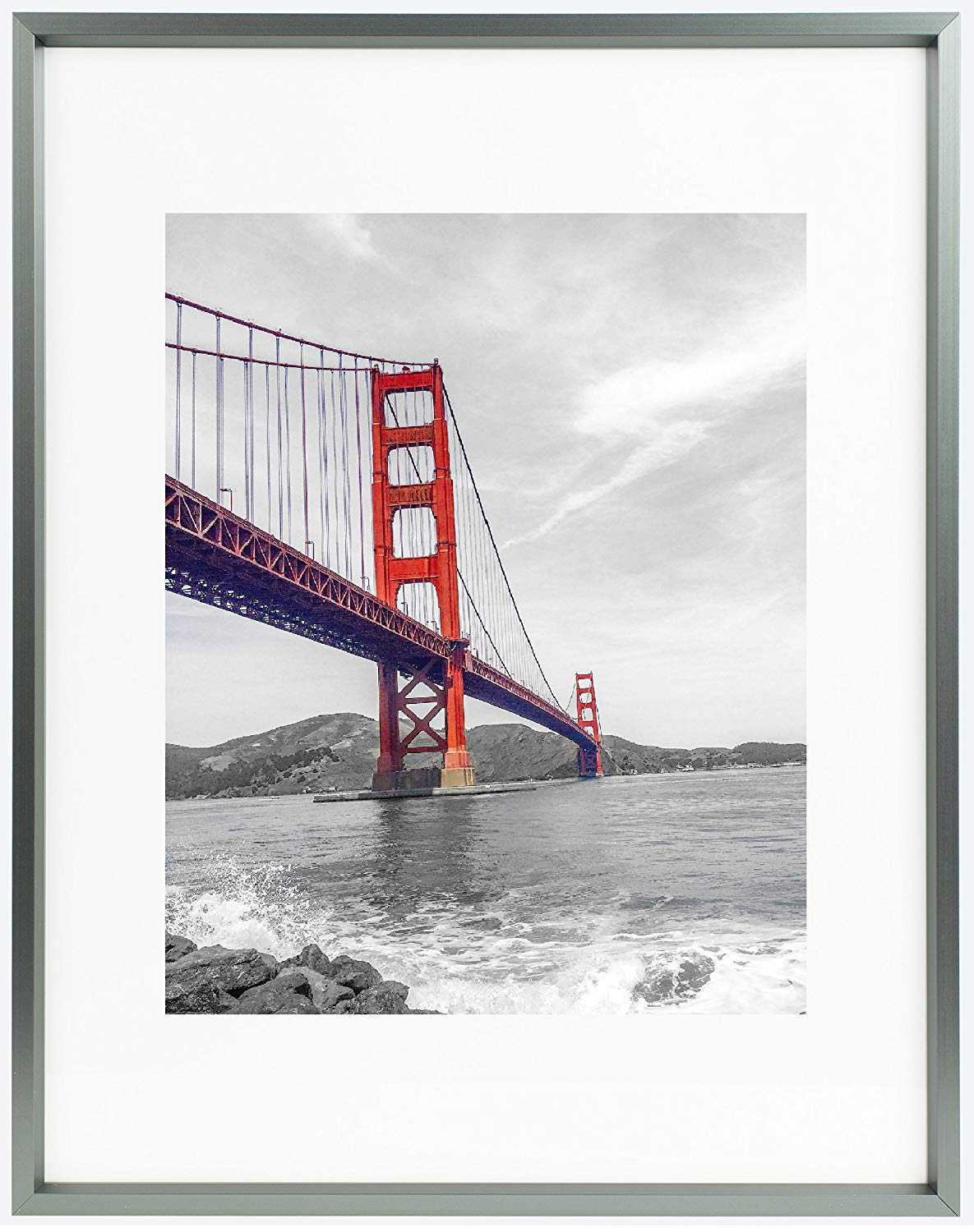 Frametory, 11x14 Dark Grey Metal Picture Frame Collection, Aluminum Photo Frame with Ivory Color Mat for 8x10 Picture & Real Glass