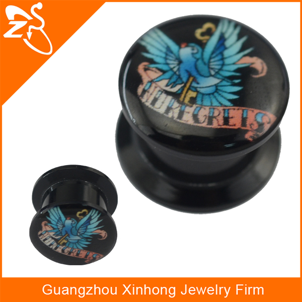 Fancy Epoxy Picture with Birds Image On Black Acrylic Plugs Ear Piercing Body Jewelry Fashion Ear Gauges