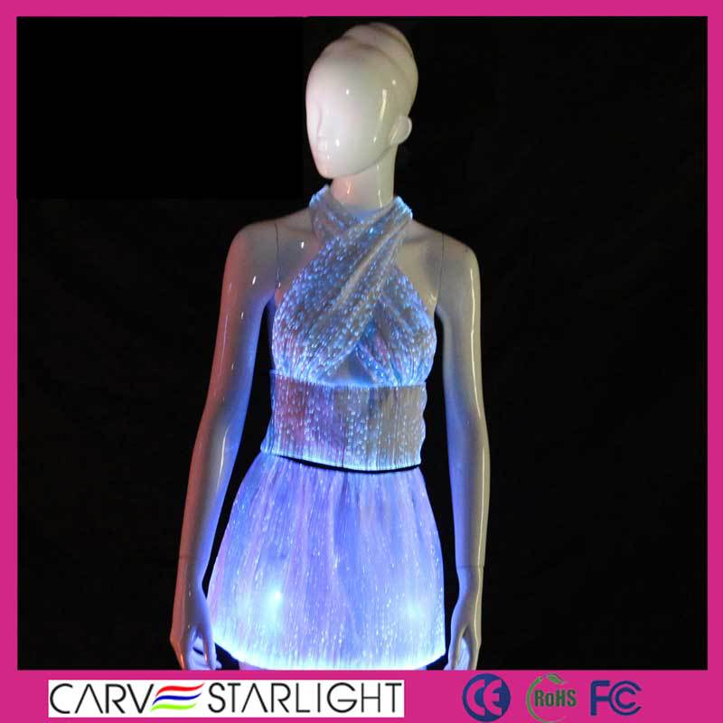 Glow In The Dark Fiber Optic Wedding Dresses Light Up Luminous Prom