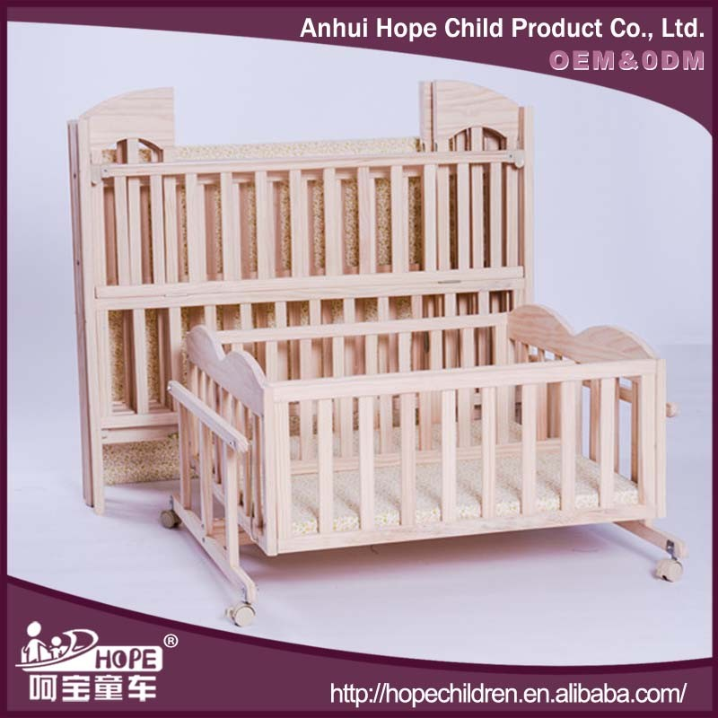 Healthy solid pine wood double bed for baby twins with for Double decker crib