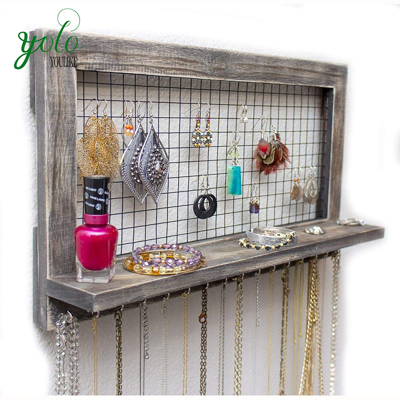 Home Vintage Rustic Torched Hanging Wall Jewelry Organizer Wood For Earrings,Necklaces,Bracelets And Accessory