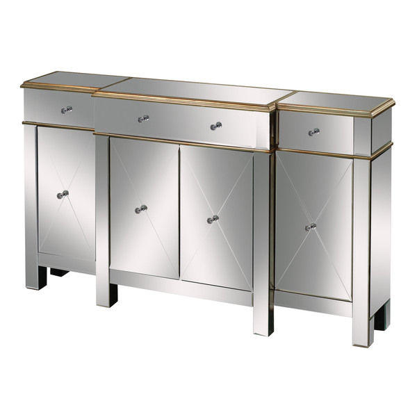 ZhaoHui hand-painted antique gold sideboard cabinet mirrored credenza Sideboard with mirror