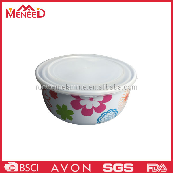 Popular on student flower print plastic bowl with lid , melamine take away lunch box