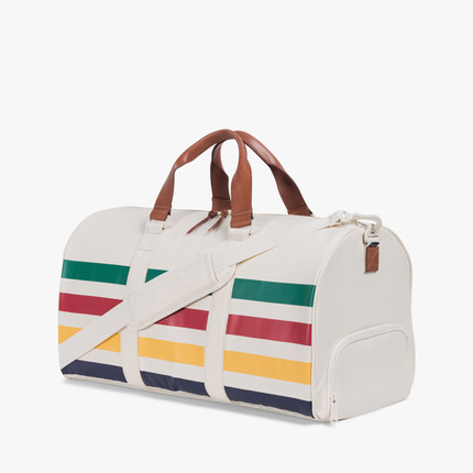 Amozon hot selling striped polyester sports bag with shoe compartment