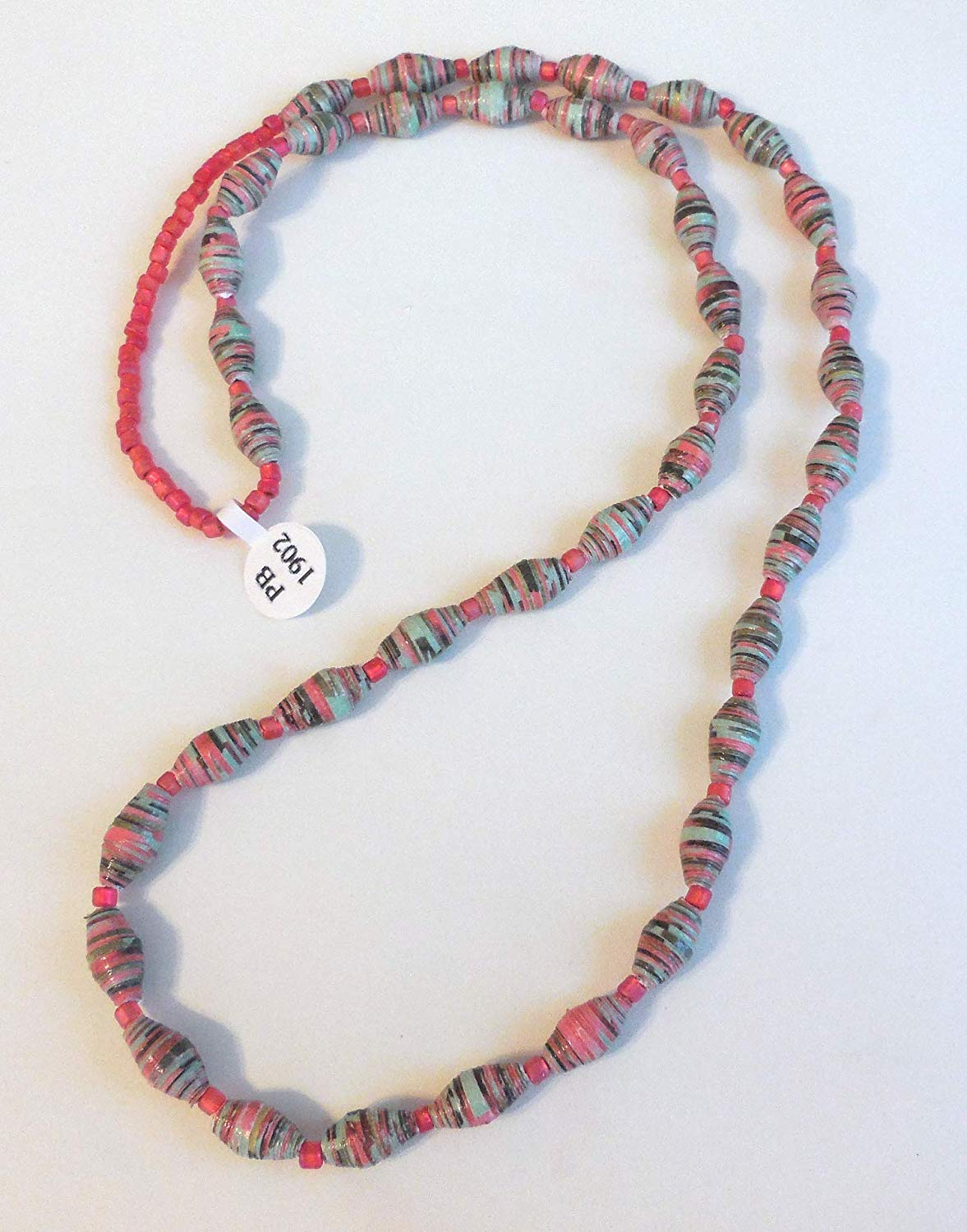 Paper Bead Necklace Handmade PB 1902