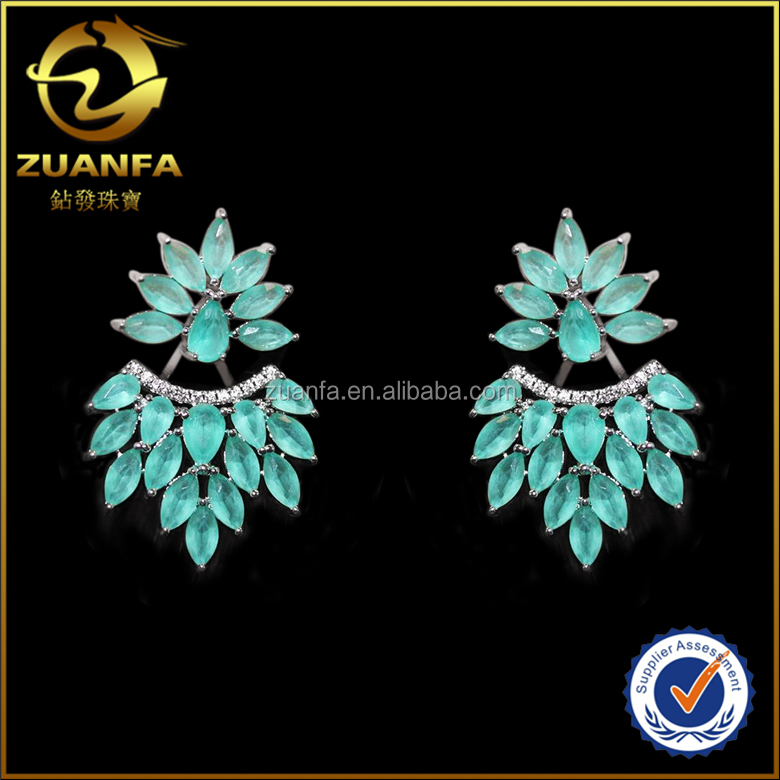 unique design earring jacket with green matte gemstone women fashion brazil style glass earrings