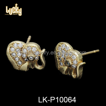 Jewelry Manufacturer Chinese Style Elephant Shaped 24 Karat Gold Plated Korea Earring Whole Maufacturer In