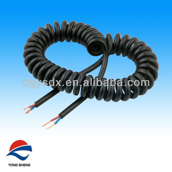 2 Cores Pu Black Electric Spiral Cable - Buy Electric Spiral Cable ...