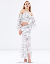 flared Chiffon construction dress White black polka dot High neckline with pleated frill detailing dress