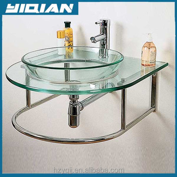 South America Glass Basin Design Stainless Steel Frame Support Wall Mounted  Glass Bathroom Sinks