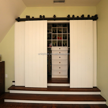 Four Sliding Barn Doors With Customized Hardware For Closet