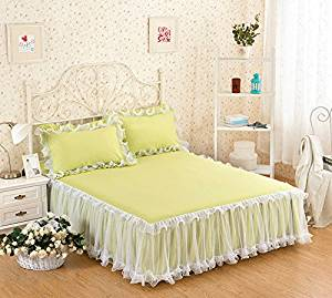 gangnumsky-3Pieces Solid Color Lace Luxury Bedding Sets Queen Bed Sets For Girl Bed Sheet Set Pillow Case Customizable-E