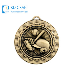 Factory wholesale custom metal embossed 3d enamel school sports meet baseball medals with cutting edge