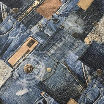 100 Poliester De Linho Calca Jeans Olhar Texturizado Estofados Sofa