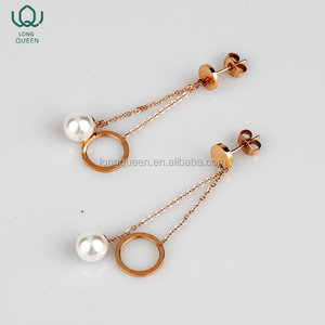 New Design Excellent Quality Elegant Pearl Earring Stainless Steel Jewelry