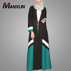 Latest Burqa Designs Picture Elegant Stitching Color Kimono Front Open Abaya Design Dubai Abaya Islamic Women Clothing