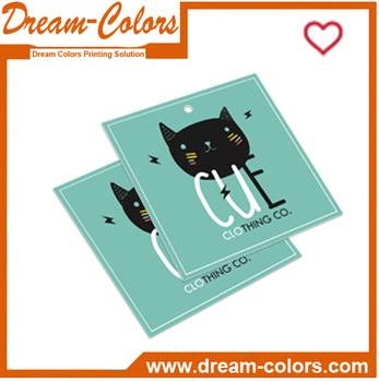 Custom printed fashion design paper garment label jeans hang tags