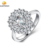 18k real gold plating prong setting water drop diamond design engagement wedding ring