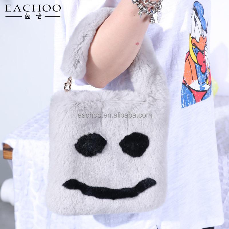 EACHOOยิ้มใบหน้าสีดำสีขาวกระเป๋าถือจริงเร็กซ์ขนกระต่ายสำหรับแฟชั่นเกาหลี