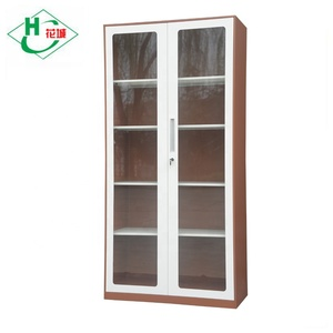 Factory hot sale knock down modern new 2 doors tall glass cabinet