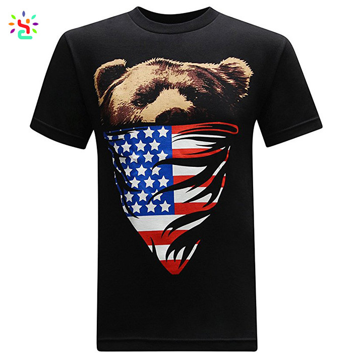 New Apparel custom cotton fabric tee shirt summer printed usa flag long line men t shirt