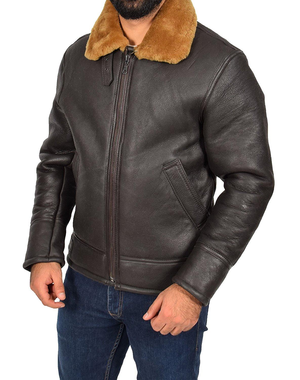 e6347f54de803 Get Quotations · Mens Sheepskin Leather Jacket Ginger Shearling Lined Top  Gun Aviator Oscar Brown
