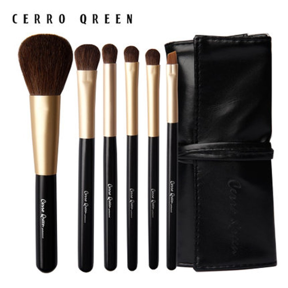 CERROQREEN 6pcs Makeup Brushes Cosmetic Brush Set pony hair goat hair leather traverl pouch bag case (Black)
