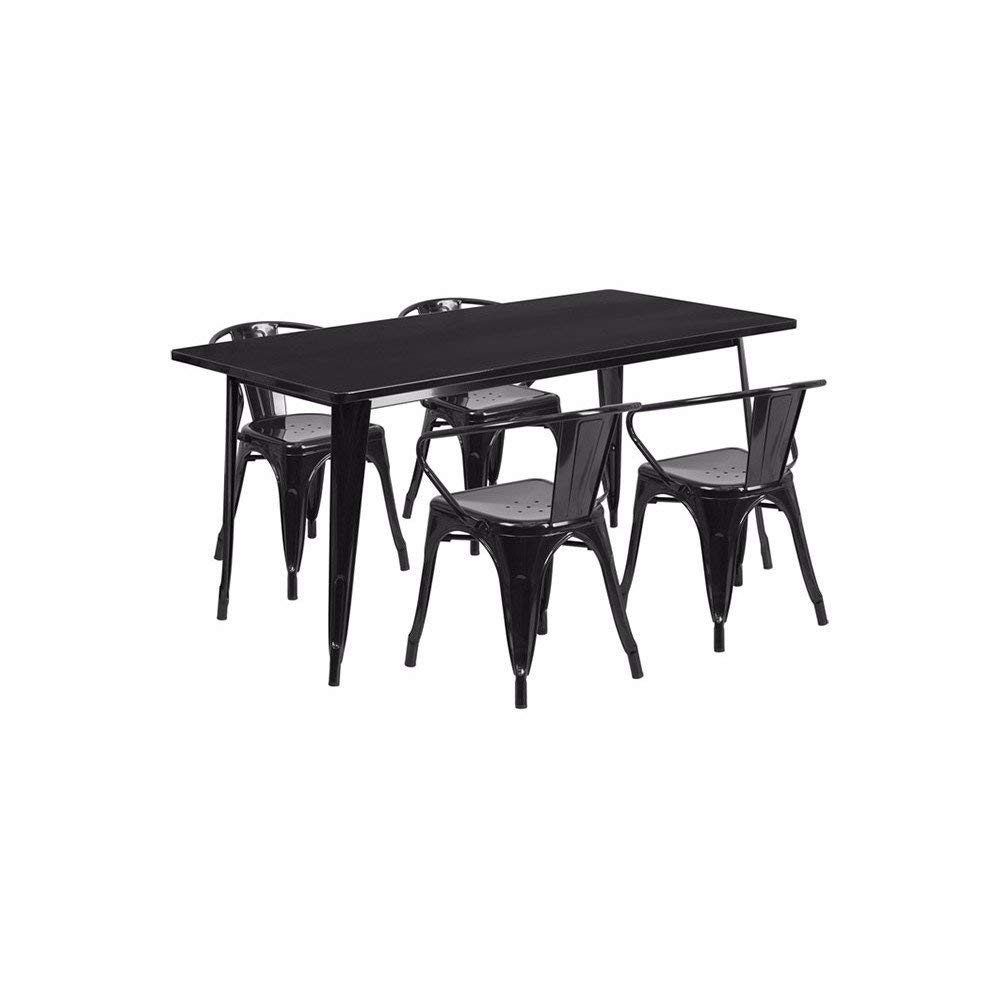 """Offex OFX-380689-FF 31.5"""" x 63"""" Rectangular Metal Indoor Table Set with 4 Arm Chairs - Black"""