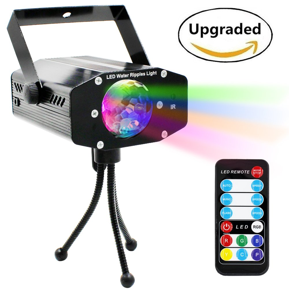 Disco Party Lights-Disco Lights Sound Activated,Led disco lights with Remote Control, dj stage lights for Birthday,Karaoke, DJ Parties 9W,7 RGB Colors Water Ripples Effect Led Projector Light 3 Modes