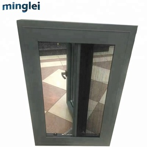 energy efficient black metal aluminium casement windows frames
