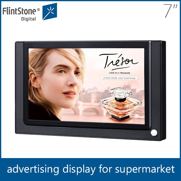 Flintstone 7 inch lcd supermarket shelf edge lcd advertising display, 7 inch lcd retail store video player