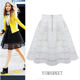 2018 New Vintage Mesh Tulle Plaid Swing Skirts Organza Womens A line Mini Pleated Skirt Black Solid Casual Girl Short Skirt E511