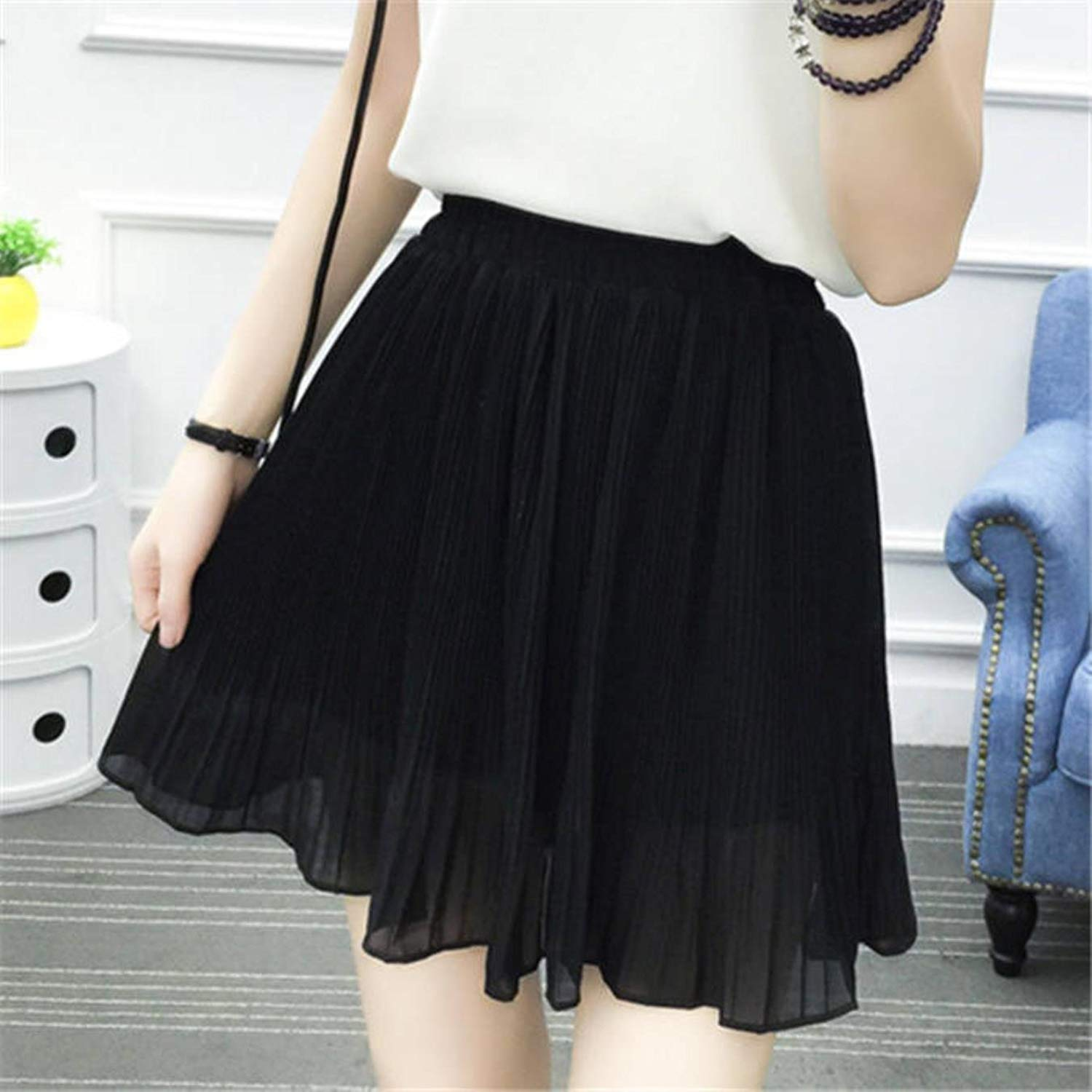 53897f4038 Get Quotations · High Waist Pleated Chiffon Skirt Women Mini Sexy Summer  Short Skirts Womens Leggings Female kawaii Sun